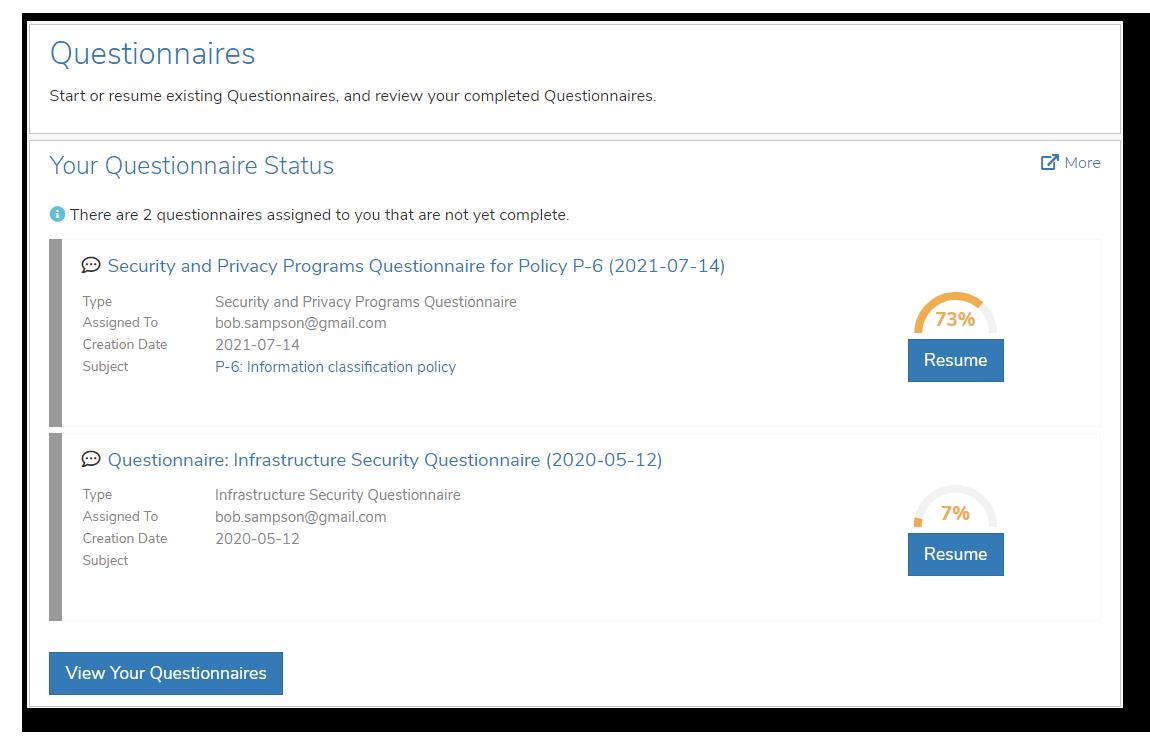 Collaborator Portal - Questionnaires